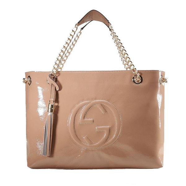 Gucci Soho Medium Tote Bag in Patent Leather 308982 Apricot
