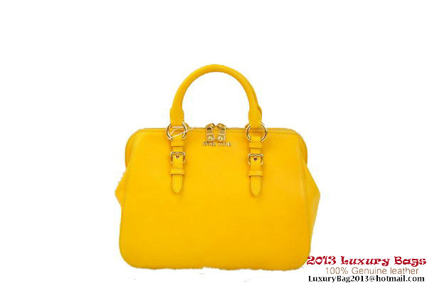 miu miu Pebble-Finish Madras Goat Leather Top-handle Bag RL0063 Yellow