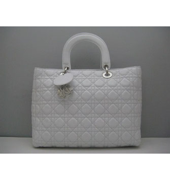 Dior Lady Bag Large Patent Top Handle White