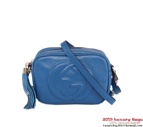 Gucci Soho Calfskin Leather Disco Bag 308364 Blue