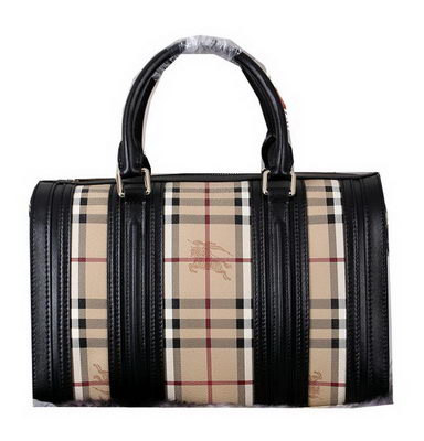 Burberry Medium Haymarket Check Bowling Bag 399390507 Black
