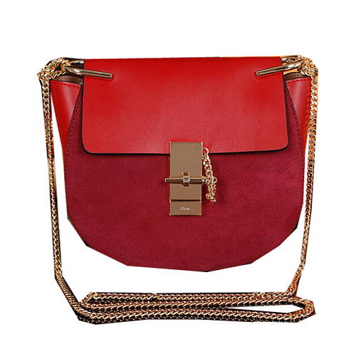 CHLOE Drew Small Suede Leather Shoulder Bag CLE7671 Red