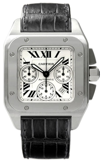 Cartier Santos 100 Fashionable Mens Automatic Chronograph Wristwatch-W20090X8