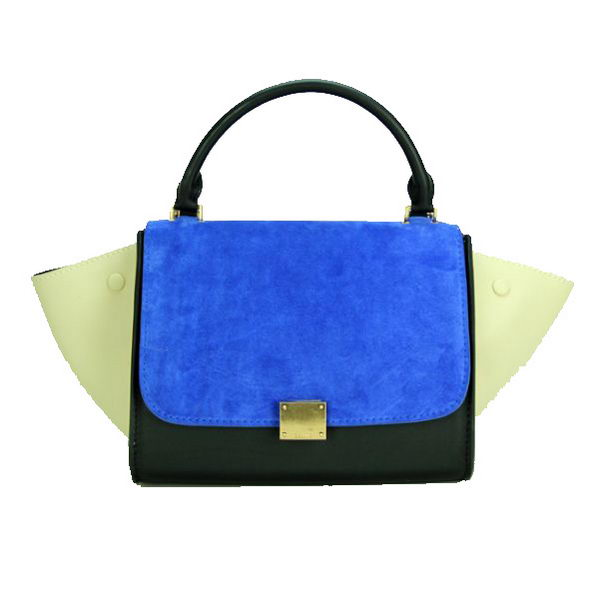 Celine mini Trapeze Top Handle Bag Original Leather C88039 Blue&Black&Beige