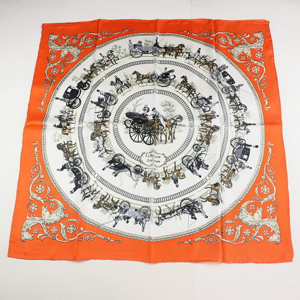 Hermes Scarves Silk Broadcloth WJH048 Orange