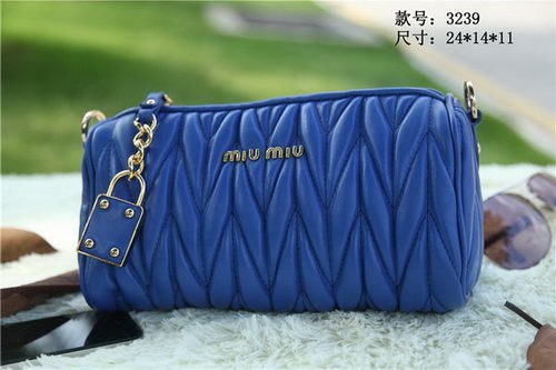 miu miu Matelasse Leather mini Bag RT3259 Blue
