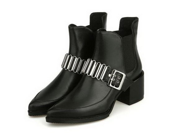 Alexander McQueen Sheepskin Leather Ankle Boot MCQ241 Black