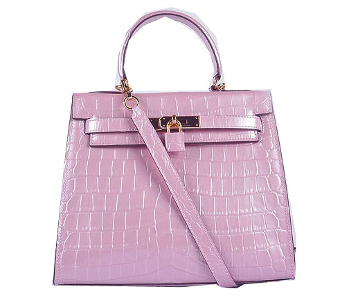 Hermes Kelly 28cm Shoulder Bags Pink Croco Patent Leather Gold