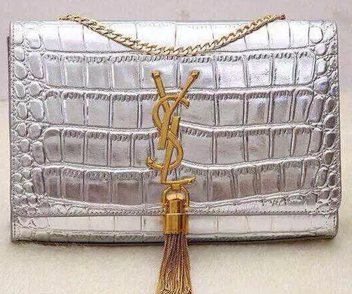 Yves Saint Laurent Monogramme Croco Leather Cross-body Bag Y32218 Silver