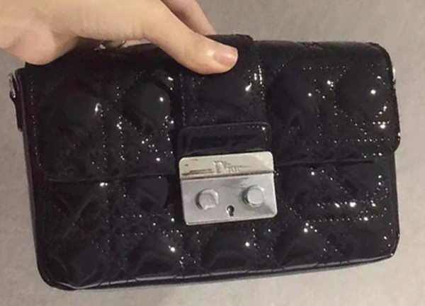 MISS DIOR Patent Leather Shoulder Bag CD5501 Black