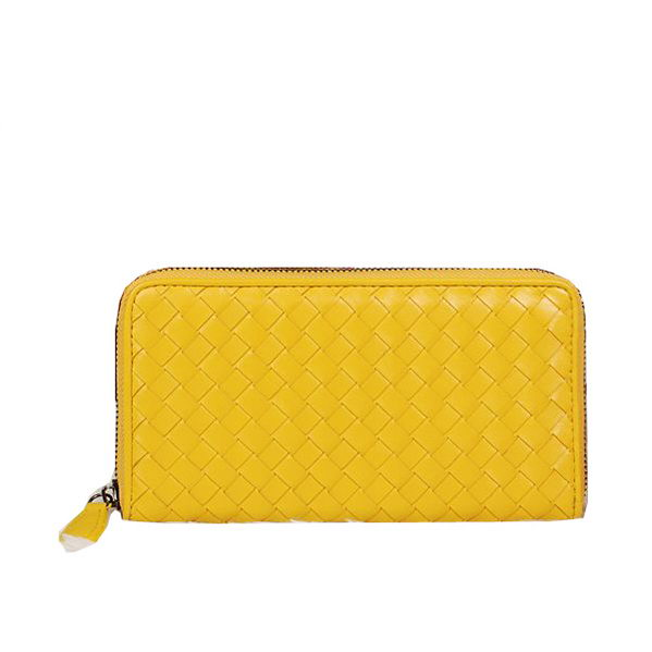 Bottega Veneta Intrecciato Nappa Zip Around Wallet BV20017 Lemon
