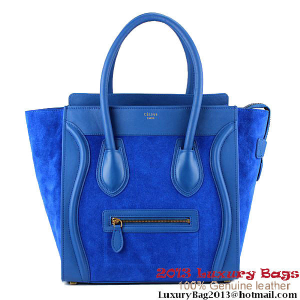 Celine Luggage Mini Boston Tote Bag Suede&Calfskin Dark Blue