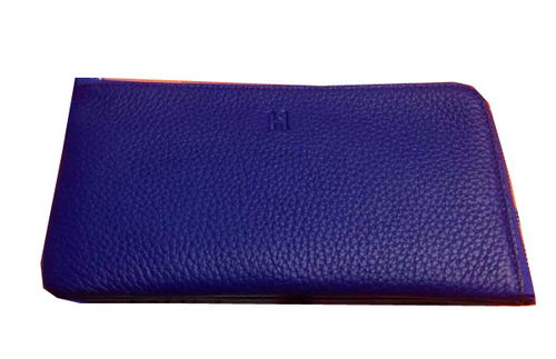 Hermes Zipper Wallet Grainy Leather HA309 Royal