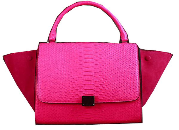 Celine Trapeze Top Handle Bag Snake Leather 3342 Rose