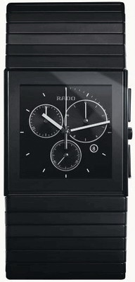 Rado Ceramica Series Chronograph Ceramic Mens Watch R21715152 in Black