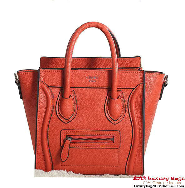 Celine Luggage Nano Boston Bag Clemence Leather Orange