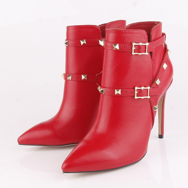 Valentino Ankle Boots 10CM Heels Sheepskin Leather VT184 Red