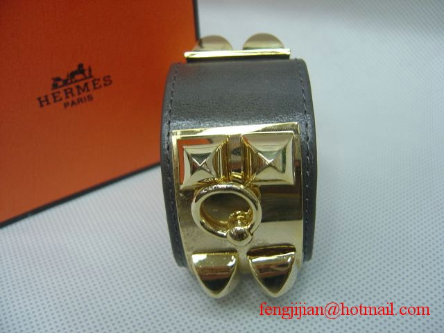 2010 Hermes Gray Leather Gold Bangle 1171