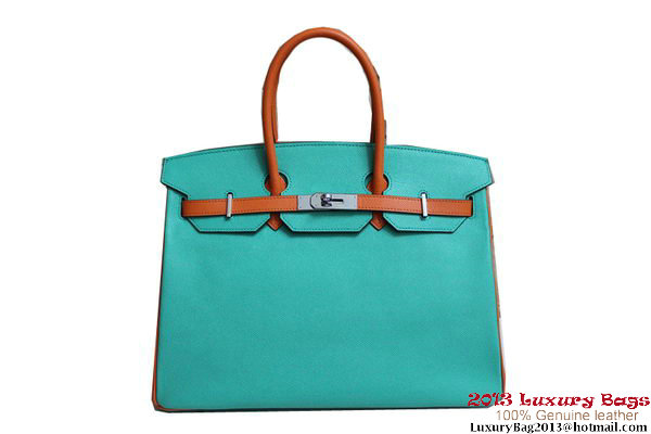 2013 Hot Sale Hermes Birkin 35CM Tote Bag Calf Leather Orange&Light Blue