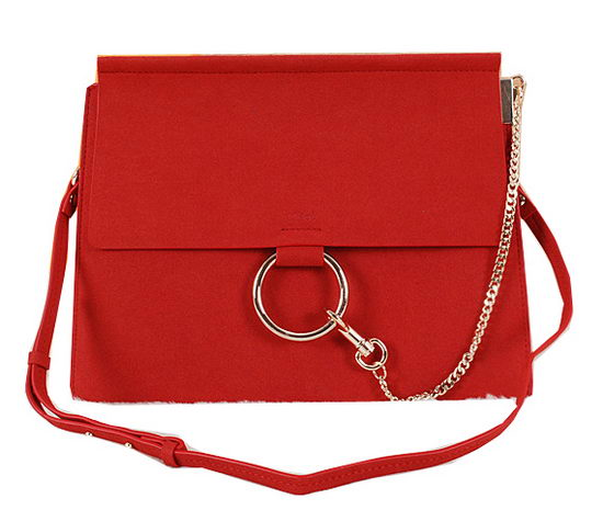 CHLOE Flap Shoulder Bag Suede Leather C1126 Red