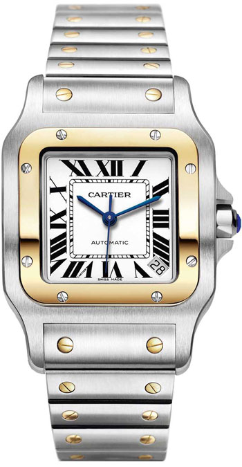Cartier Santos Galbee Series 18kt Yellow Gold and Steel XL Mens Wristwatch-W20099C4