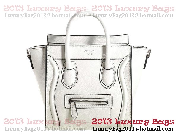 Celine Luggage Nano Boston Bag Clemence Leather White