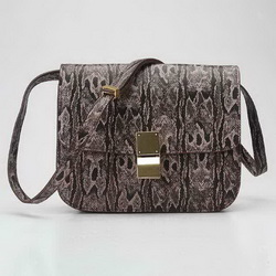 Celine Classic Snake Pattern Box Large Flap Bag 80077 Deep Coffee