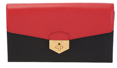 PRADA Saffiano Leather Flap Wallet 1M1311 Black&Red