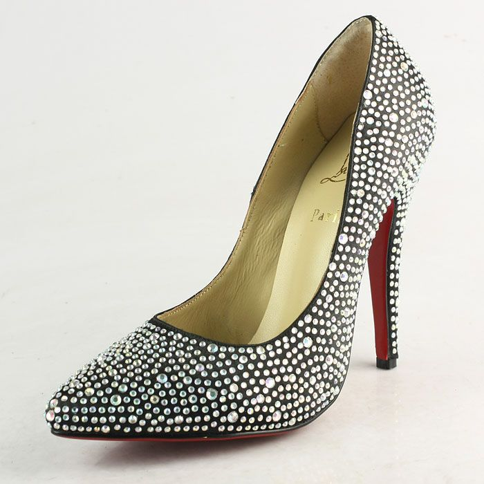 Christian Louboutin Strass 120mm Pumps CL9749 Black Satin
