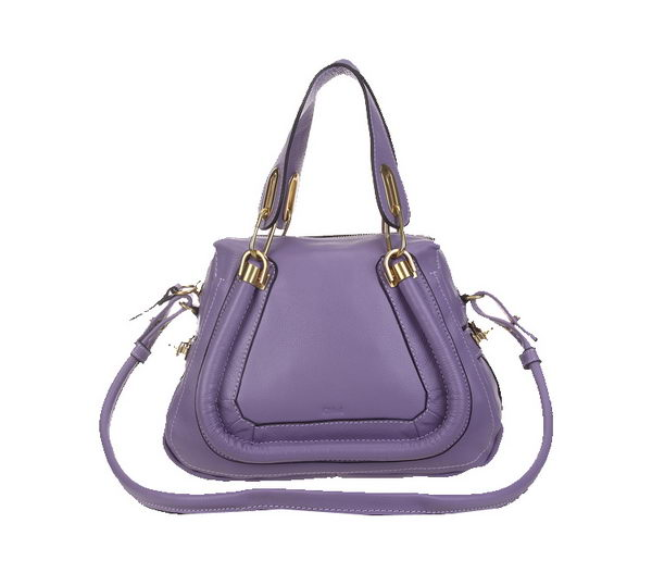 Chloe 166323 Lavender Paraty Small Shoulder Bags in Calf Leather