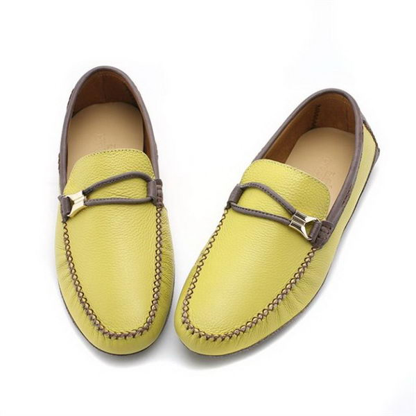 Hermes Calfskin Leather Men Casual Shoes HO0348 Yellow