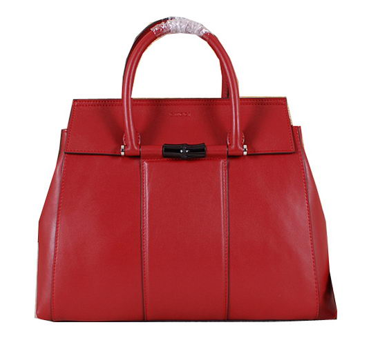 Gucci Lady Bamboo Leather Top Handle Bag 370826 Red
