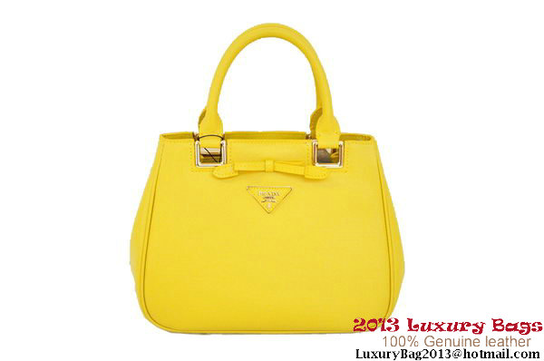 Prada BN2245 Lemon Saffiano Calf Leather Tote Bag