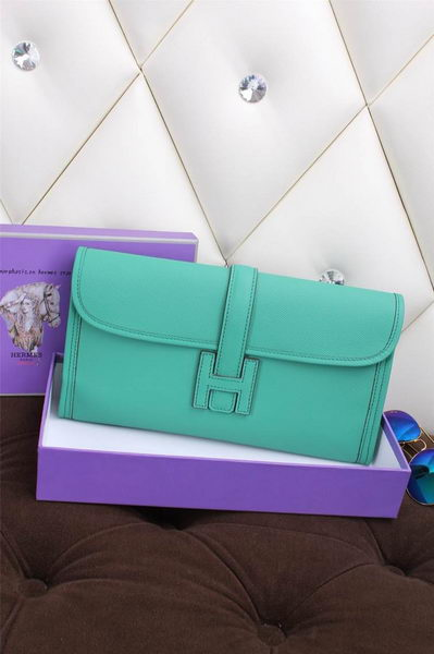 Hermes Jige Clutch Bag Calfskin Leather H258 Green
