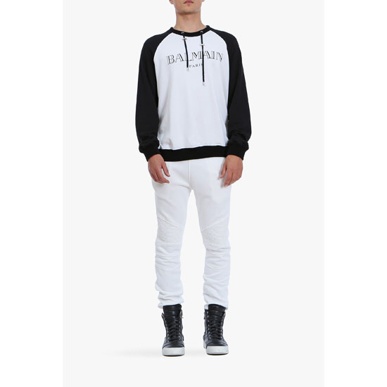 BALMAIN MEN RIBBED-PANELLED SWEATPANTS