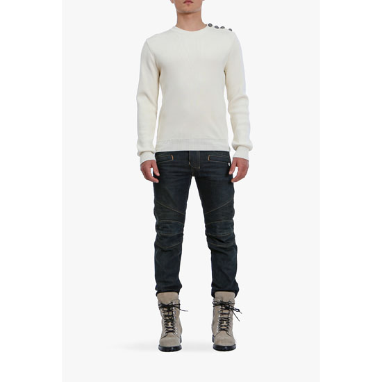 BALMAIN MEN REGULAR FIT RAW DENIM BIKER JEANS