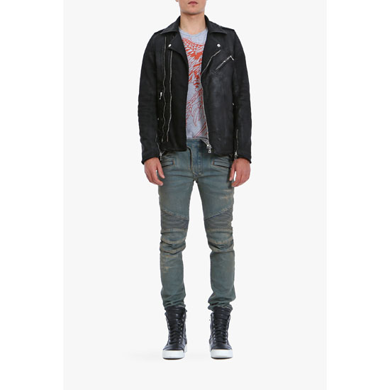 BALMAIN MEN SLIM FIT VINTAGE DENIM BIKER JEANS
