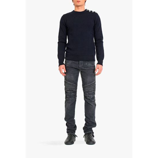 BALMAIN MEN REGULAR FIT WASHED DENIM BIKER JEANS