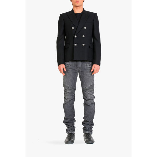 BALMAIN MEN SLIM-FIT WOOL DOUBLE-BREASTED BLAZER