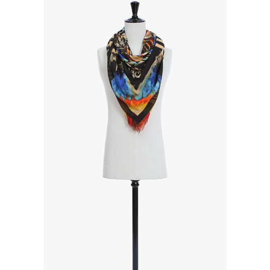 BALMAIN WOMEN INDIAN-PATTERNED MODAL AND CASHMERE SCARF