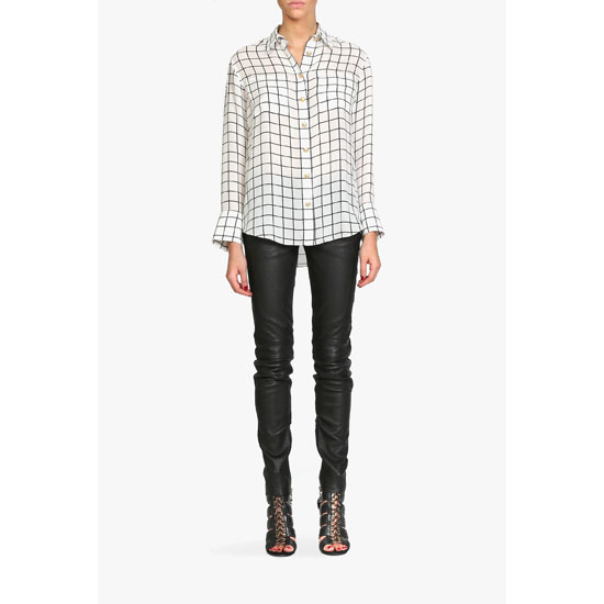 BALMAIN WOMEN CHECKED SILK BLOUSE