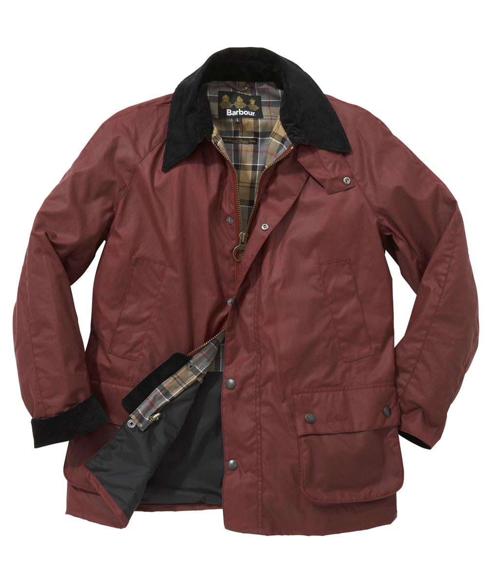 Mens Barbour Ashby Waxed Jacket - Dark Red