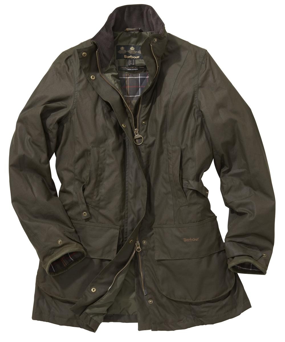 Womens Barbour Linley Waxed Jacket Olive