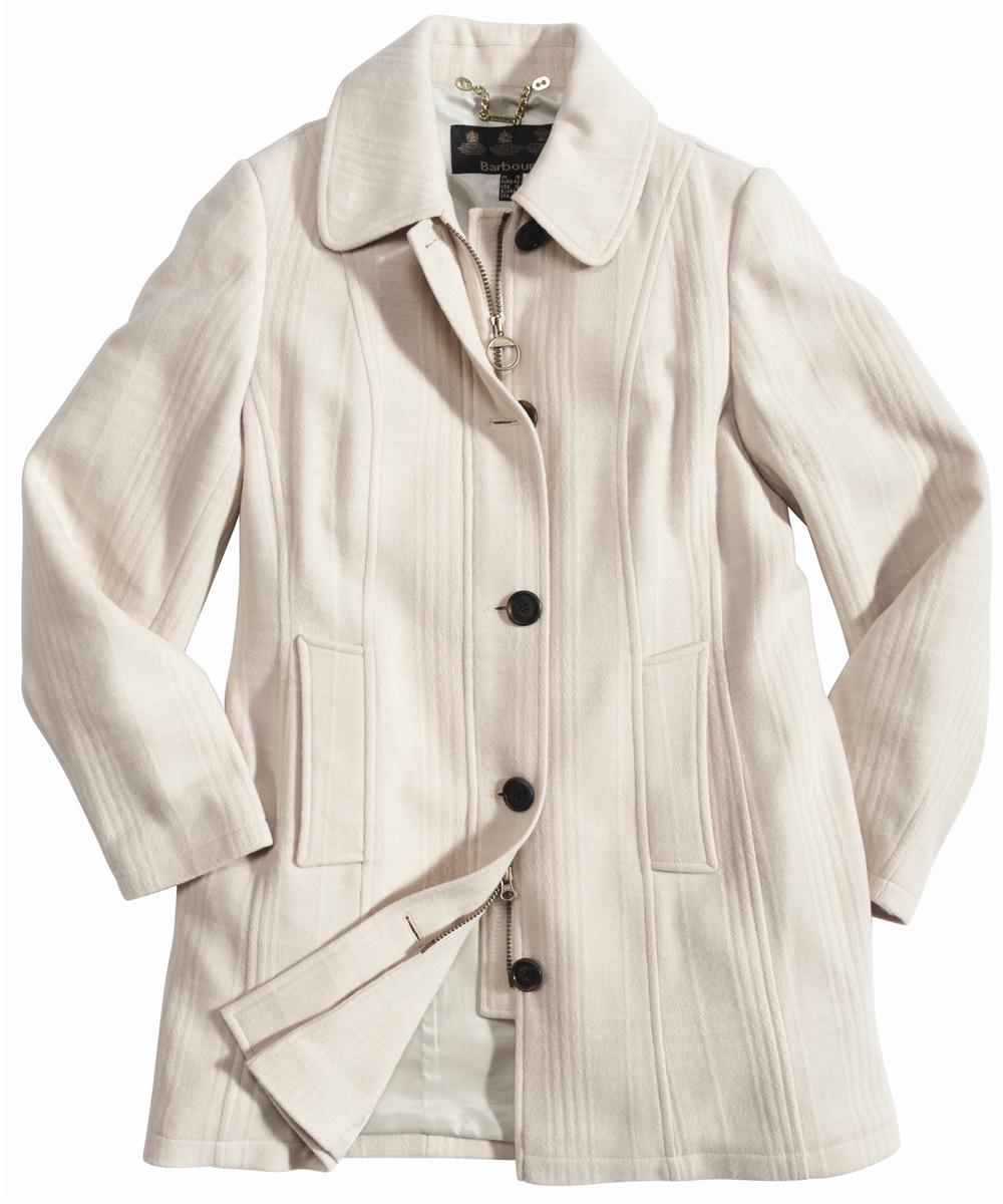 Barbour Shadow Check Belsay Wool Jacket Winter White