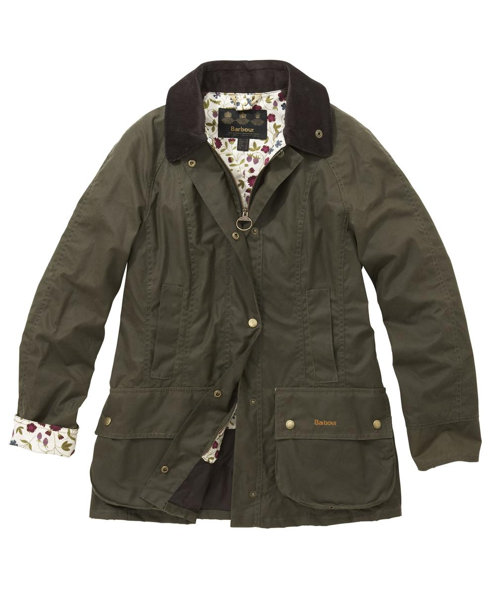 Womens Barbour Liberty Beadnell Waxed Jacket Mid Olive | Woodland