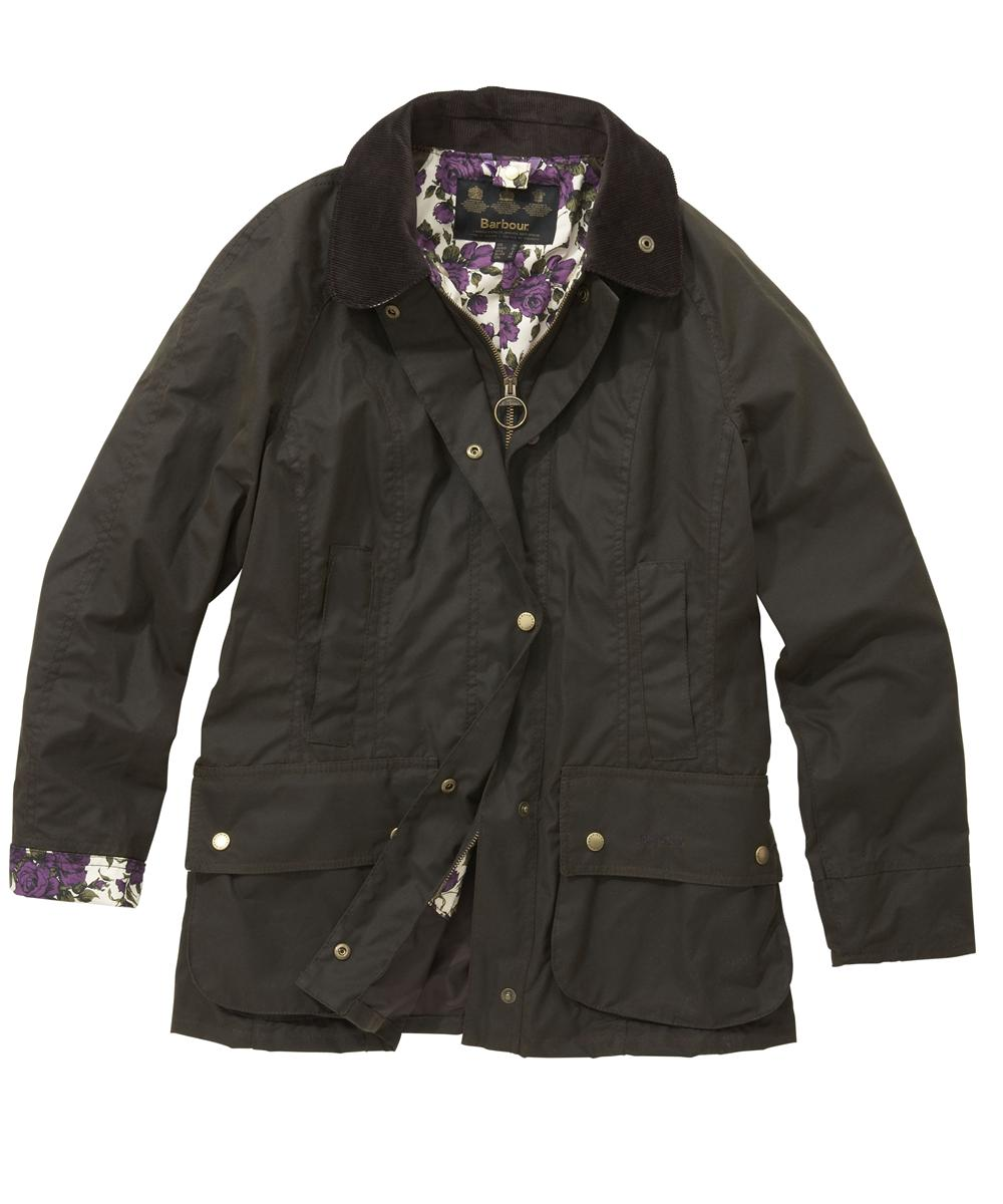 Womens Barbour Liberty Beadnell Waxed Jacket Olive|Purple Rose
