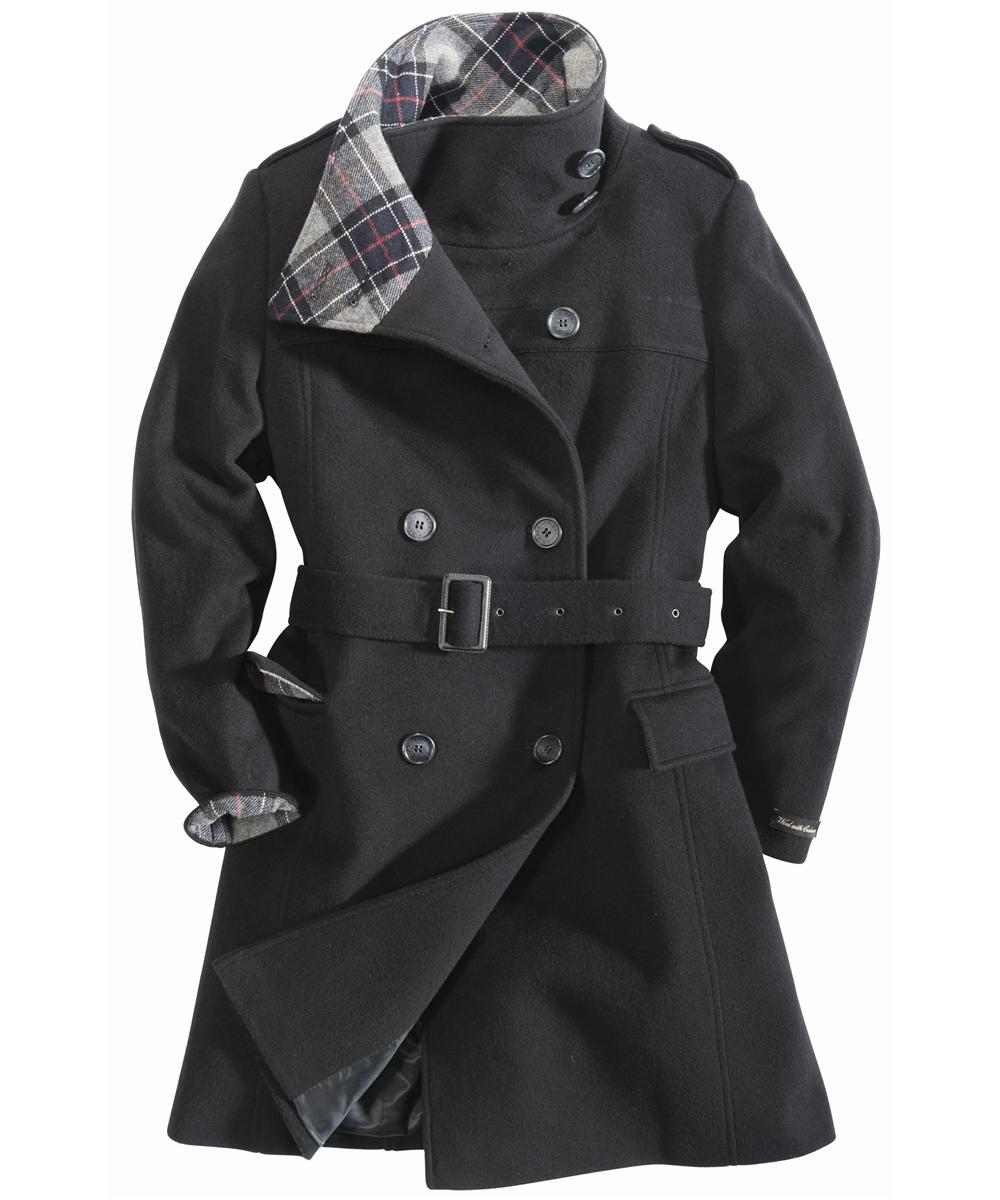 Womens Barbour Josie Wool Coat Black