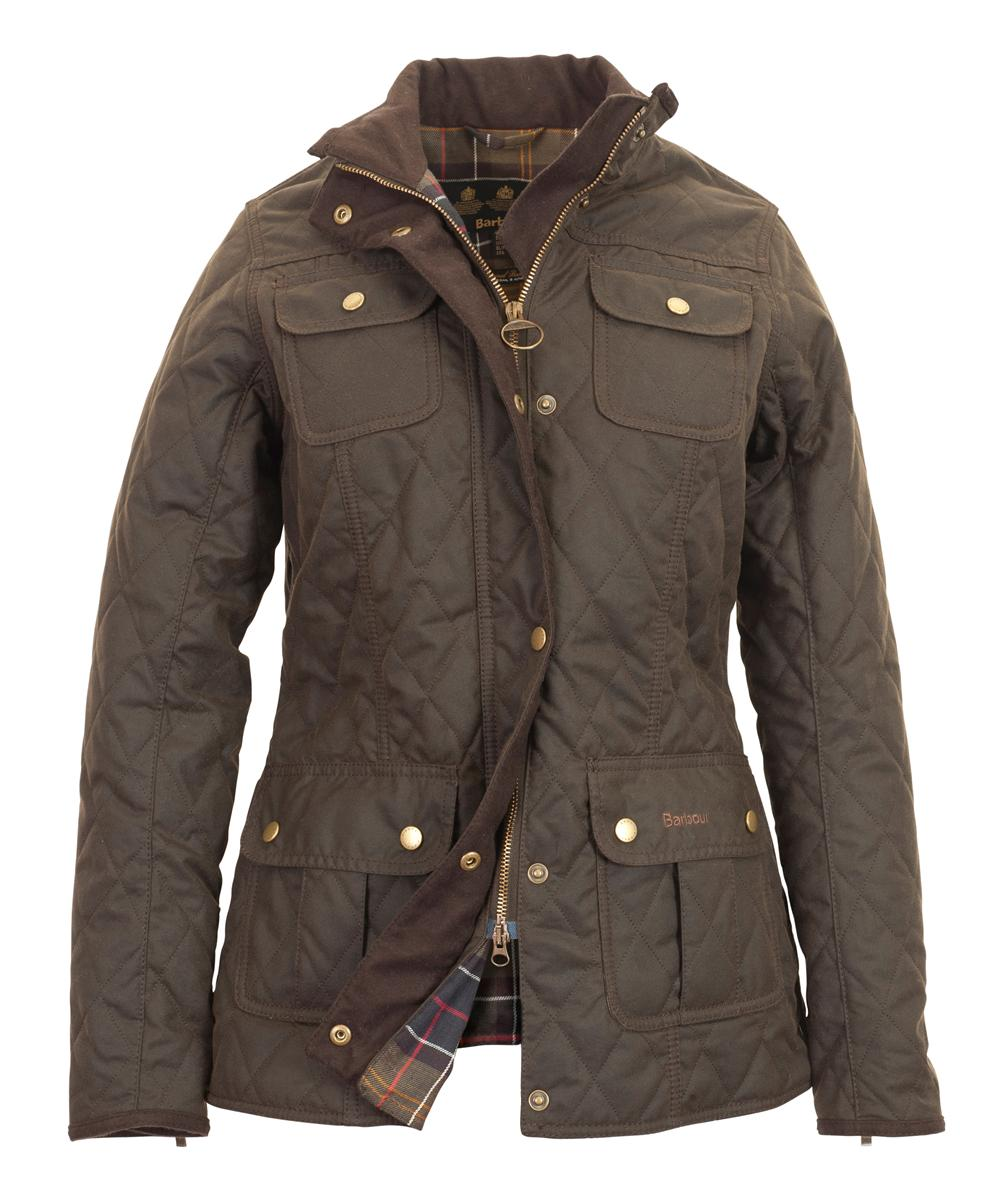 Womens Barbour Quilted Utility Waxed Jacket - Olive