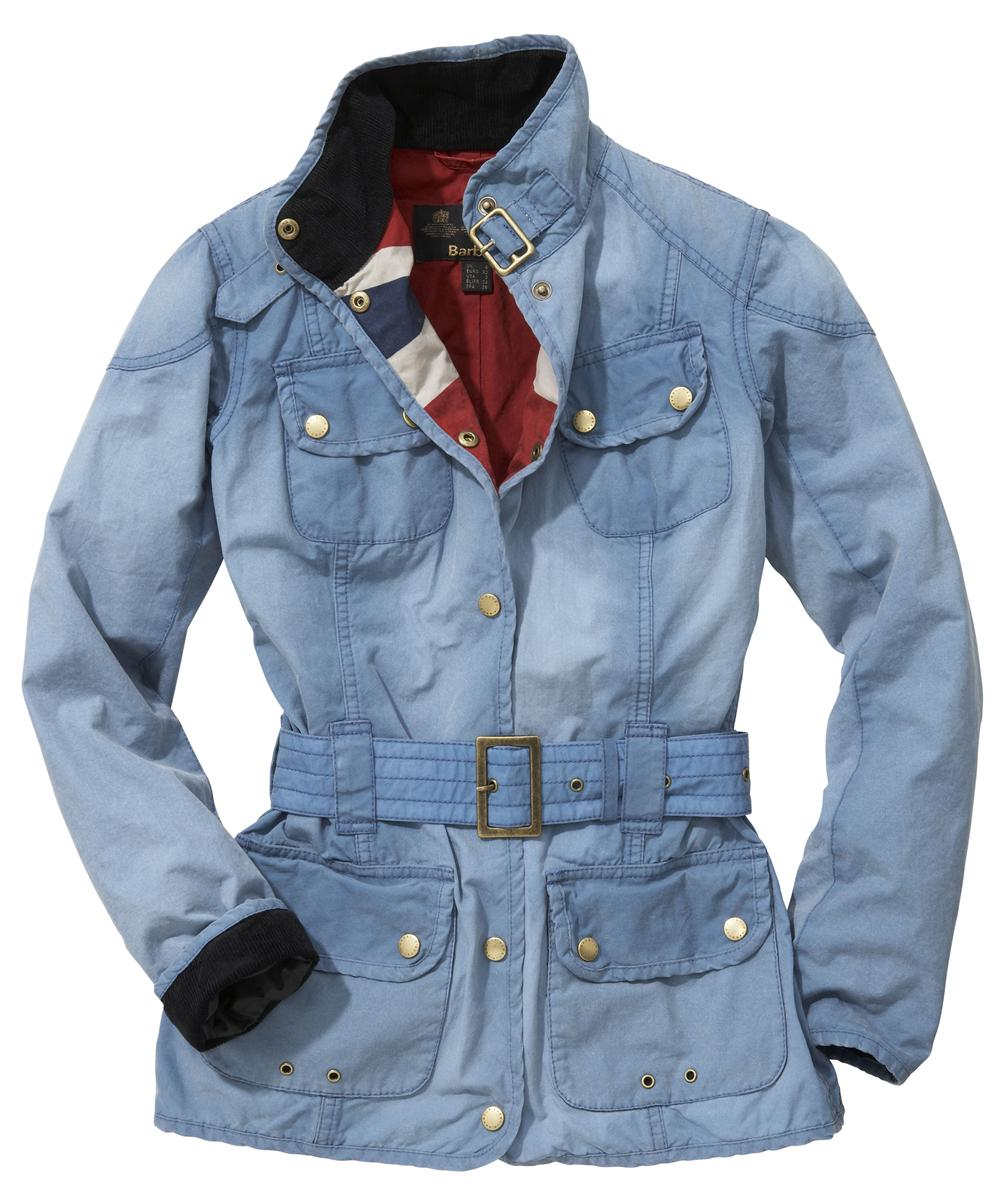 Womens Barbour Vintage International Waxed Jacket - Denim Blue