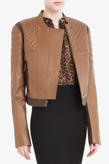 BCBGMAXAZRIA JOSH CROPPED LEATHER MOTORCYCLE JACKET